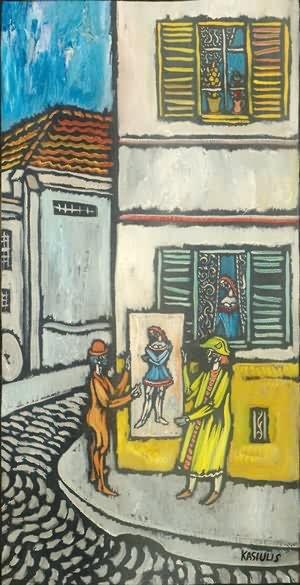 Dailininkas ir cirko artistas gatvėje. XX a. 6 deš.